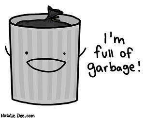 Trash Can saying I'm full of garbage.